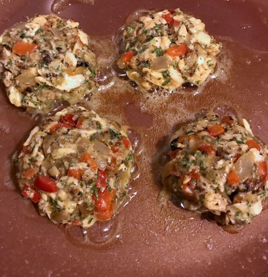 Salmon cakes - cooking